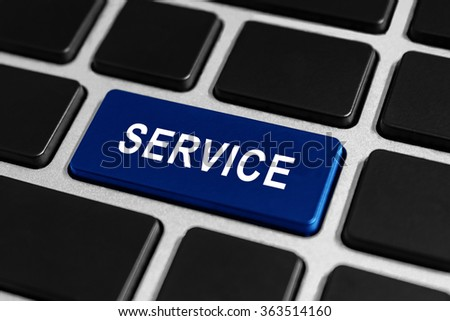 service blue button on keyboard, business concept - stock photo