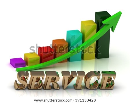 SERVICE bright of gold letters and Graphic growth and green arrows on white background - stock photo