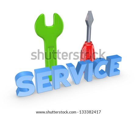 Service concept.Isolated on white background.3d rendered.