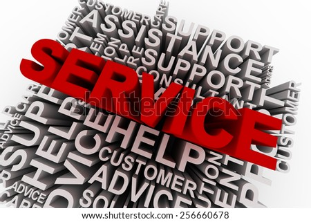 Service concept words. 3D rendering on white background. - stock photo