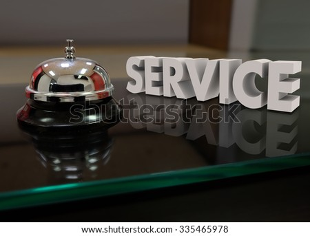 Service 3d word beside a bell to call for help or assistance at a front desk
