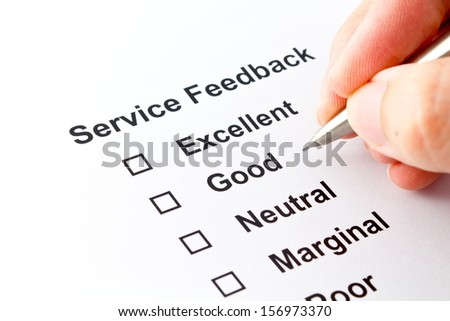 service feedback evaluation isolated over white background - stock photo