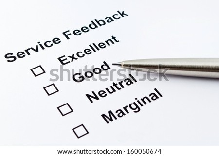 service feedback evaluation with pen isolated over white background - stock photo