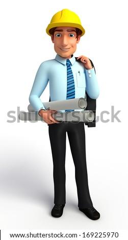 Service man  construction plan - stock photo