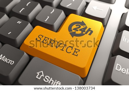Service. Orange Button on Computer Keyboard. Internet Concept. - stock photo