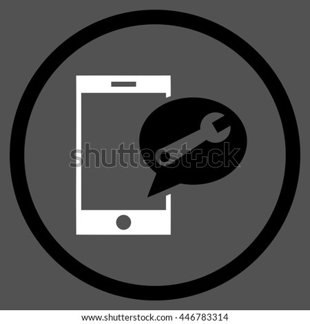 Service SMS glyph bicolor icon. Image style is a flat icon symbol inside a circle, black and white colors, gray background. - stock photo