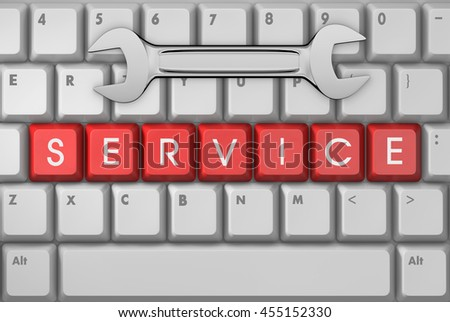 service text on button, 3d rendering