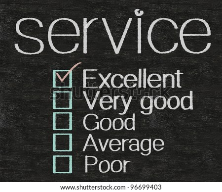 service written with rate on blackboard background