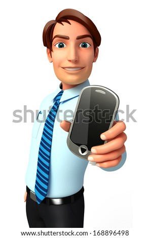 Serviceman with mobile - stock photo