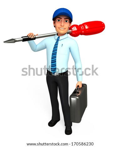 Serviceman with screw driver and toolbox