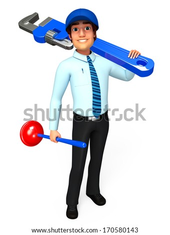 Serviceman with wrench and toilet plunger
