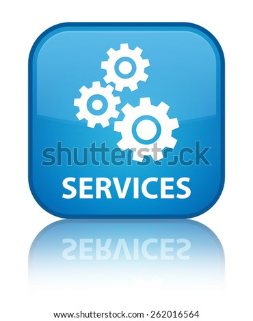 Services (gears icon) cyan blue square button - stock photo