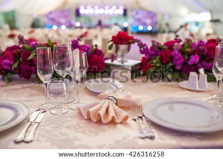 serving at the wedding - stock photo