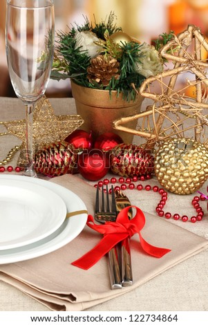 Serving Christmas table close-up - stock photo