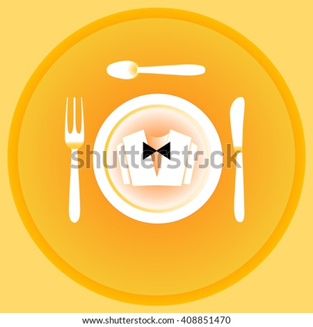Serving cutlery and napkin. Clothing waiter. Yellow color gamma. - stock photo