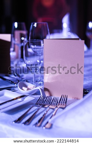Serving holiday table in a restaurant - stock photo