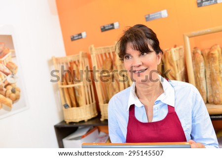 Serving in a bakery