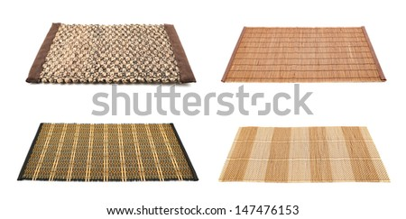 Serving mat isolated over white background, set of four variations