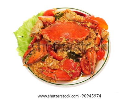 Serving of Chili Crabs - stock photo