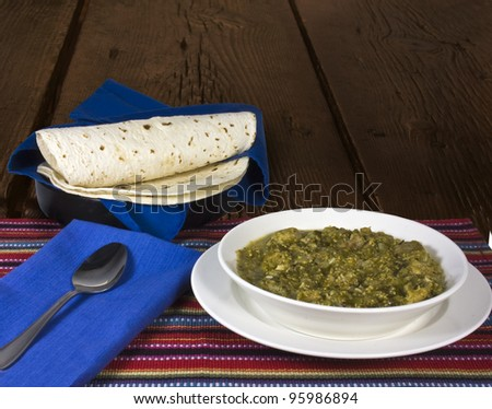 Serving of Chili Verde and Tortillas - stock photo