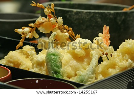 serving of deep fried prawns - japanese style - stock photo