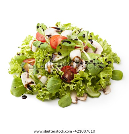 serving of fresh green salad with mozzarella cheese on a white background - stock photo