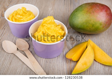 Serving of frozen homemade creamy ice yogurt  with fresh mango and wooden spoon - stock photo