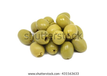 serving of green olive fruit on a white background