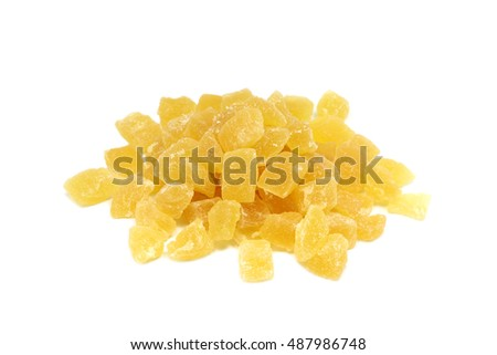 serving of sliced pineapple on a white background
