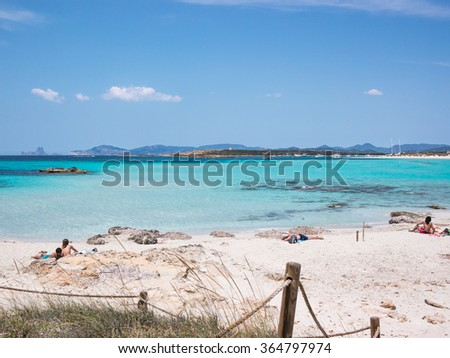 Ses Illetes in Formentera is a real paradise beach in Spain. - stock photo