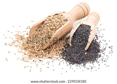 Sesame and poppy seeds in scoops. Isolated on white background. - stock photo