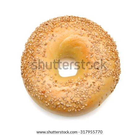 sesame bagel isolated on white  - stock photo