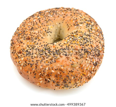 sesame bagel on white background