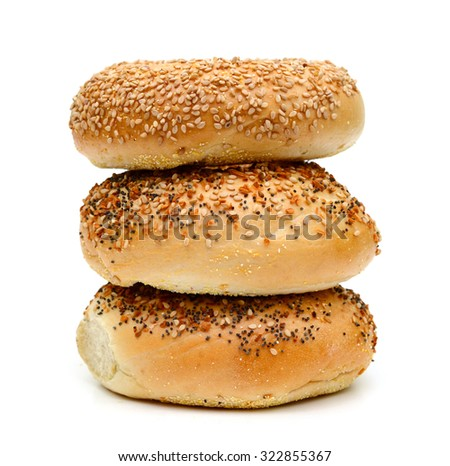 sesame bagels isolated on white