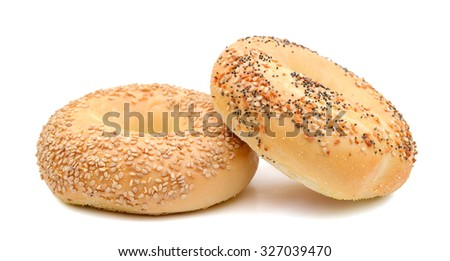 sesame bagels isolated on white  - stock photo