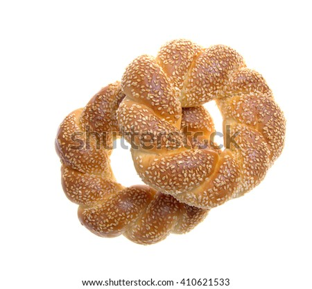 Sesame bagels on a white background
