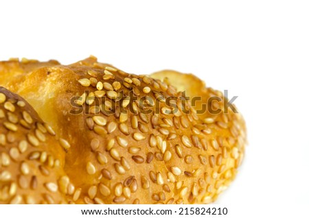 sesame bread isolated on the white background.