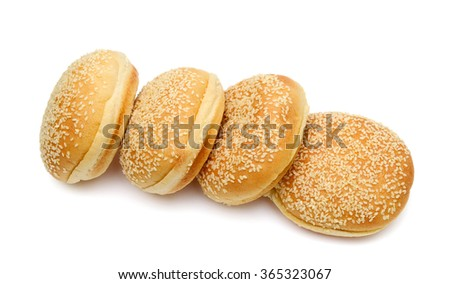 sesame buns isolated on white