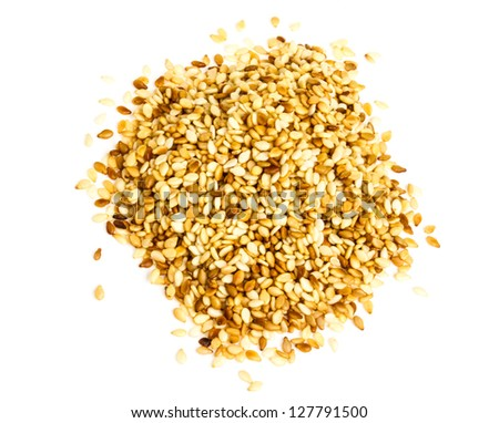 sesame heap on white background - stock photo