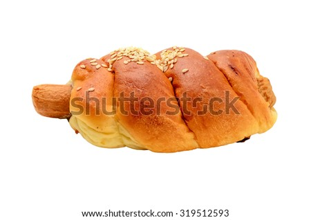 Sesame hotdog puff or pastry on white background