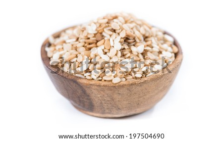 Sesame in a small bowl (isolated on pure white background) - stock photo