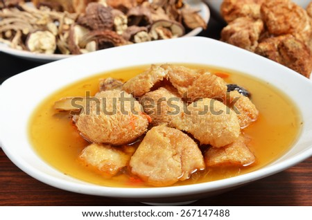Sesame oil bearded tooth mushroom  - one of Taiwan's food   - stock photo