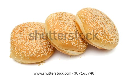 sesame sandwich buns isolated on white