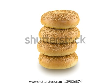 Sesame seed bagels isolated on a white background