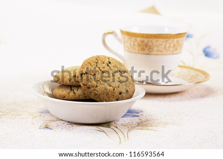 Sesame Seeds Biscuits and Cup of Tea