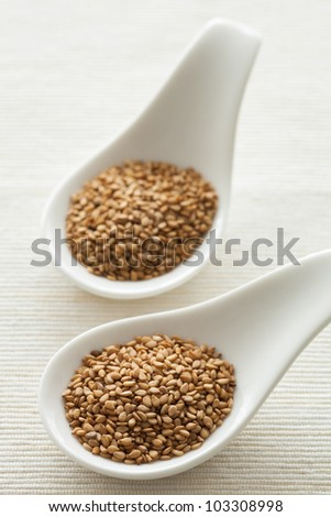 Sesame seeds on a white ceramic spoons with natural lighting. - stock photo