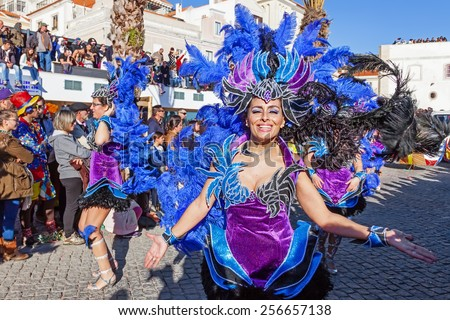 Sesimbra, Portugal. February 17, 2015: Samba dancers members of the Ala Section, in the Rio de Janeiro Brazilian style Carnaval Parade. - stock photo