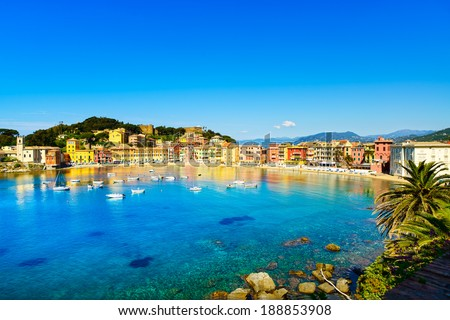 Sestri Levante silence bay or Baia del Silenzio sea harbor and beach view on morning. Liguria, Italy. - stock photo