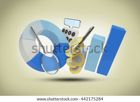 set a 3D illustration growth graph magnifier pen Calculator and coins with a rear background - stock photo