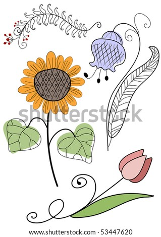 Set abstract handwork flowers for design on white